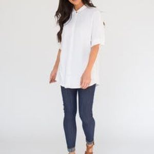 White Button Down Dolman Top